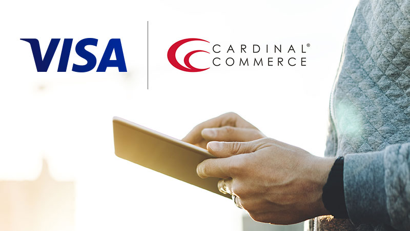 Visa Cardinal Commerce logo and woman using tablet.