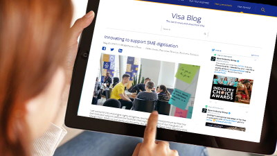 Visa Blog being viewed on tablet device